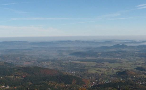 Haze above Jeleniogórska Basin in Sudety Mts
