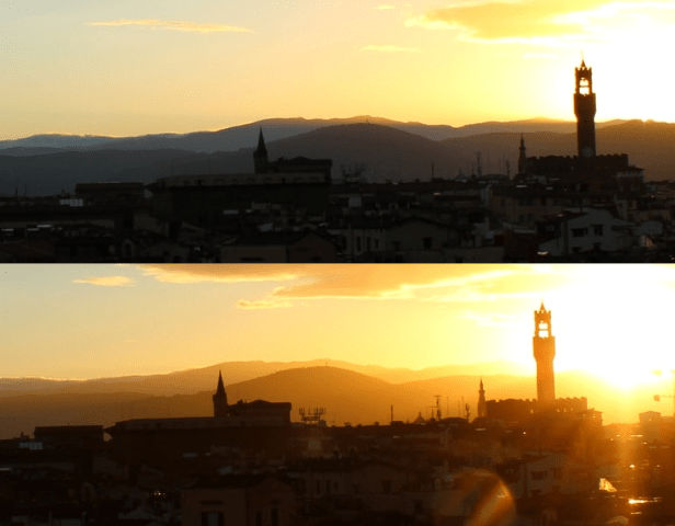 Horizontal visibility before and after sunrise, sunrise transition seen on webcam Florence