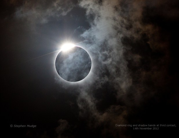 Diamon ring and shadow bands on clouds 2012 total solar eclipse