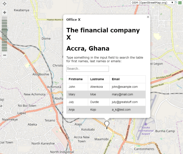 .kml placemark with HTML table in OpenStreetMap API