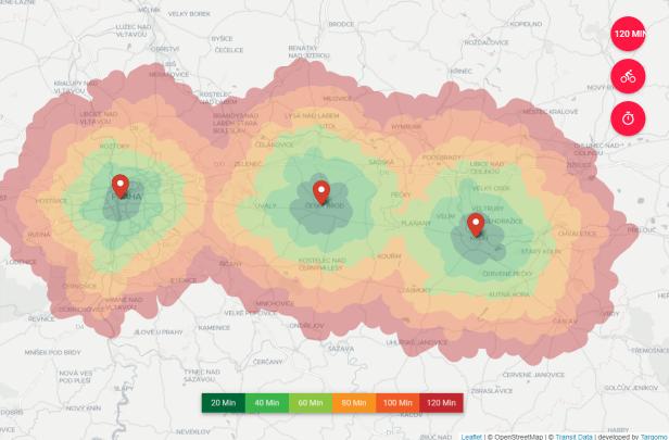 Targomo example isochrone map Czech Republic