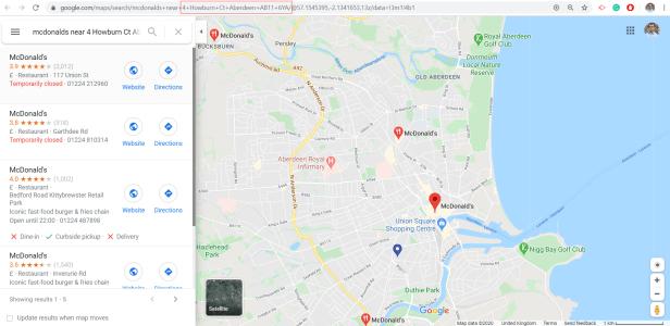 Google Maps mcdonalds VBA Excel