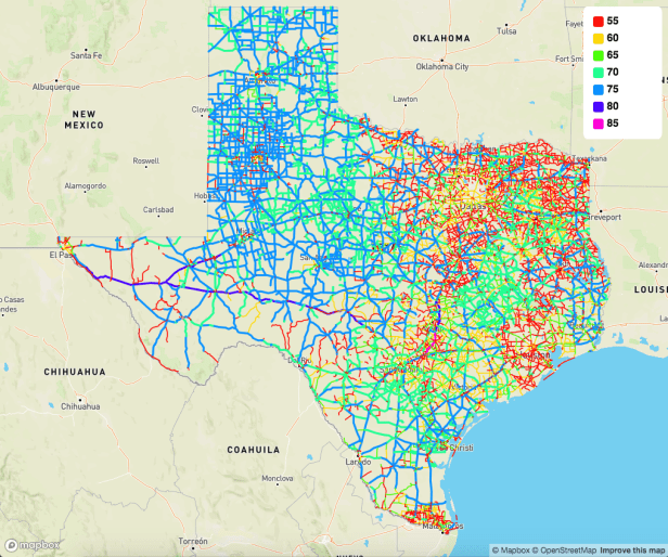 Texas speed limit map