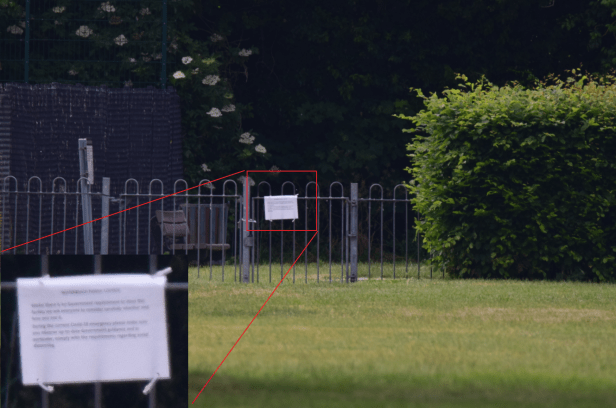 Waterbeach Recreation Ground text readibility with teleconverter 2x attached to Sigma 150-600mm