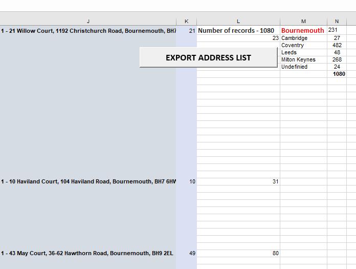 Excel address list sanitization