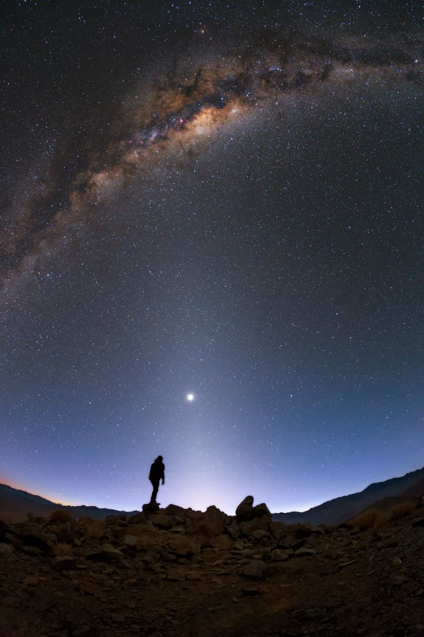 Three bands of light Milky Way Zodiacal light and astronomical twilight