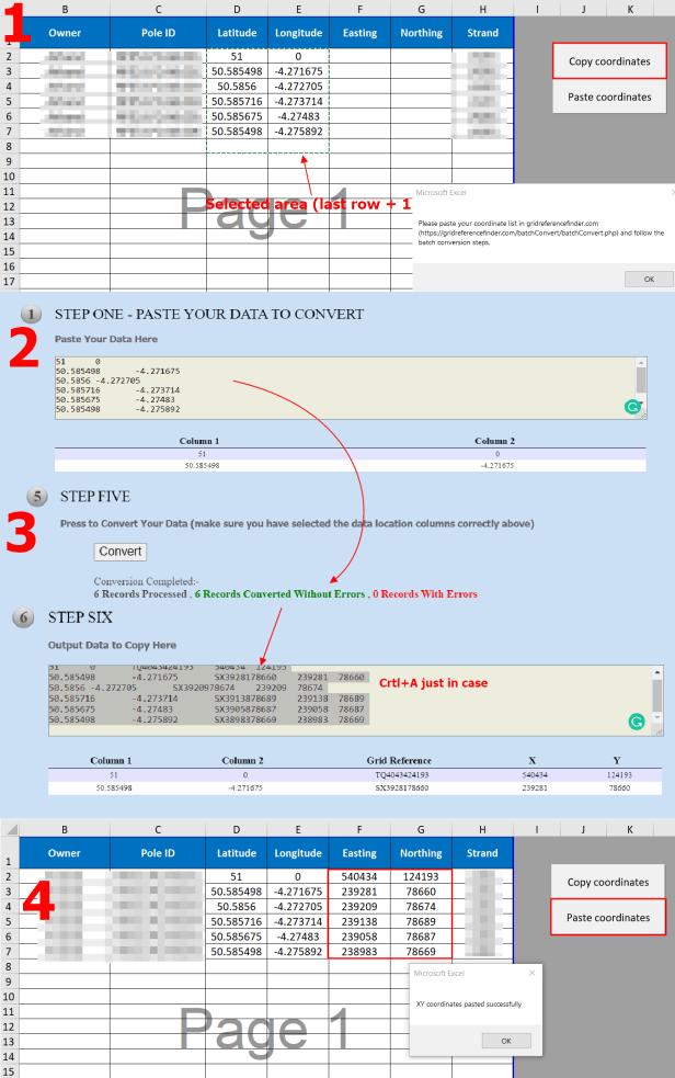 WGS 84 Latitude/Longitude to OSGB 36 XY conversion using Gridreferencefinder.com batch converter