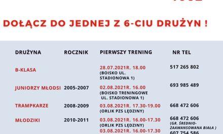 Treningi zespołów młodzieżowych od 2 sierpnia!