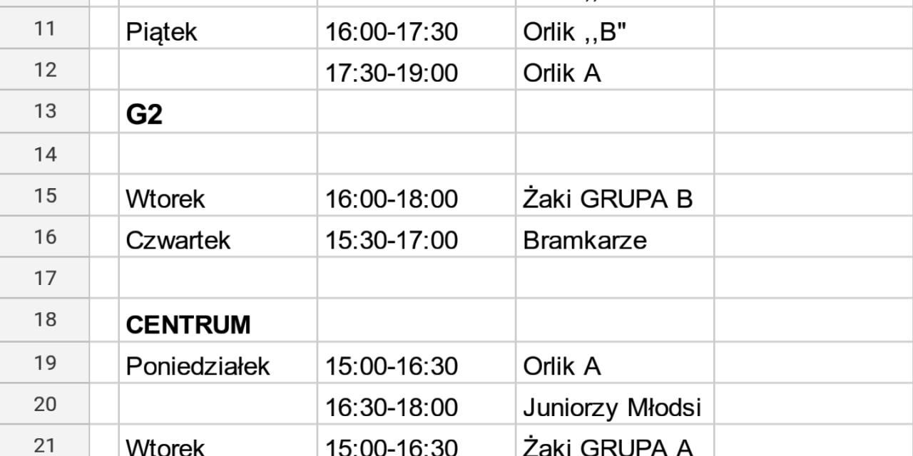 Harmonogram treningów (26.02 – 02.03.)