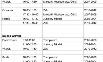 Treningi w dniach 20 – 24 sierpnia