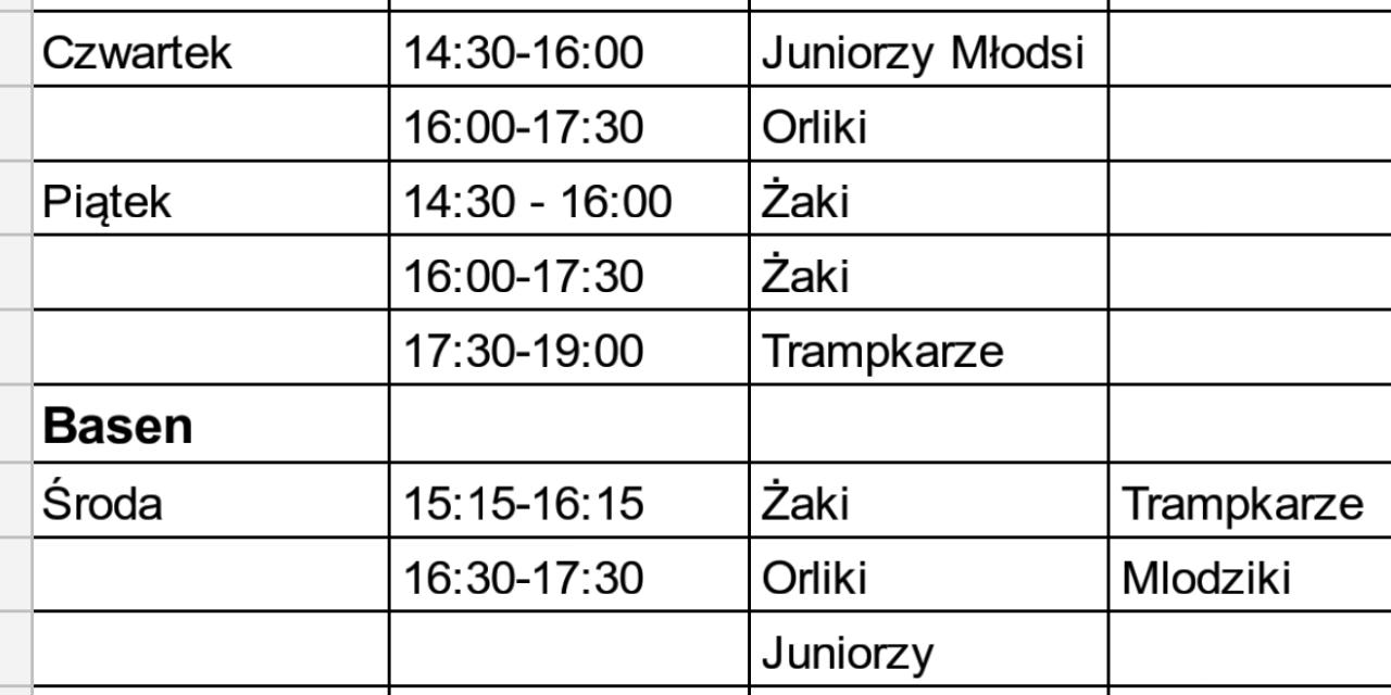 Harmonogram treningów od 3 do 14 grudnia br.