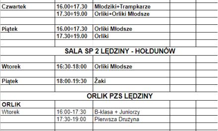 Plan treningów obowiązujący od dnia 2 marca