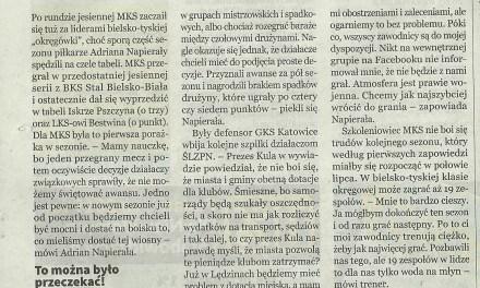 "Tygodnik ""Echo"" o nastrojach w MKS"
