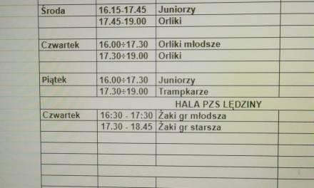 Treningi młodzieży w dniach 25-29 stycznia 2021