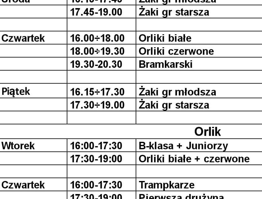 Treningi w dniach od 1 do 5 marca br.