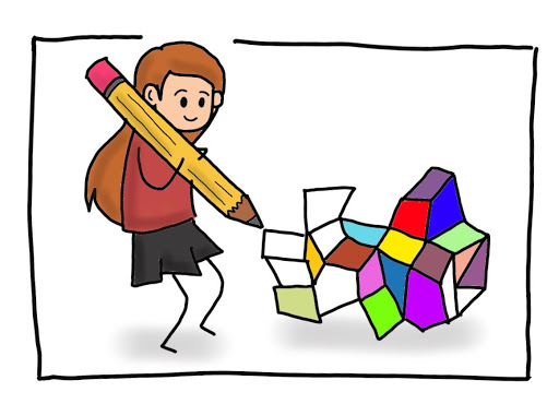 Creative content creation cartoon by MKTR.AI