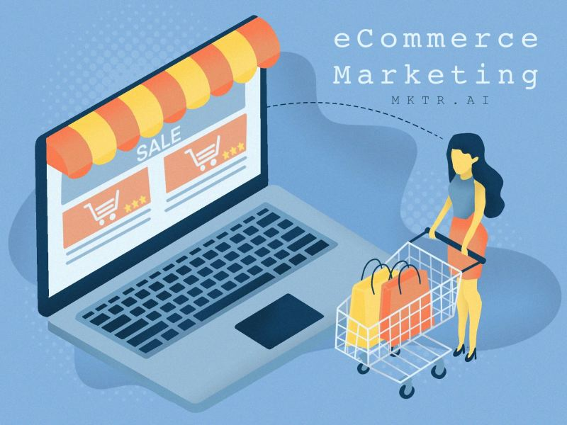 "Illustrated cover image for the article ""the best ways to market your ecommerce site"" by MKTR.AI"
