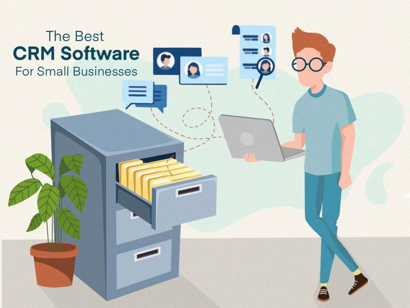 """article cover image illustration for the article: """"The best CRM software for small businesses"""" by MKTR.AI"""