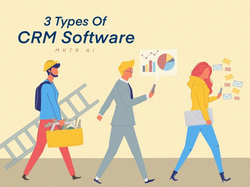 Illustrated cover image of an article about the 3 types of CRM software and which is best for you business by MKTR.AI