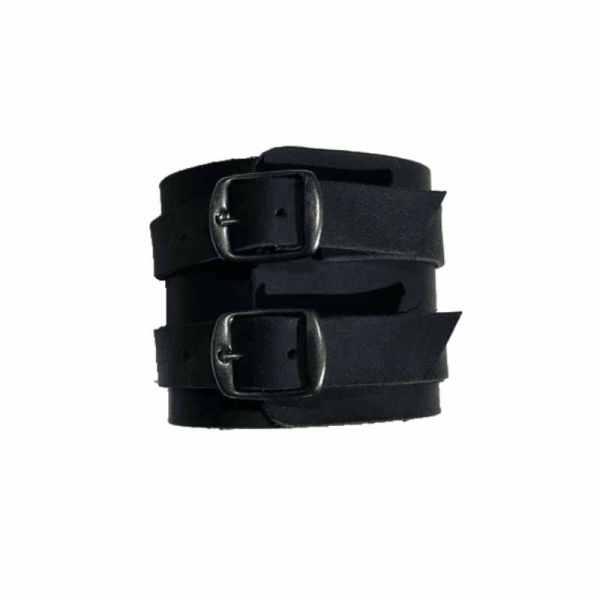 Bracelet de force homme en cuir noir