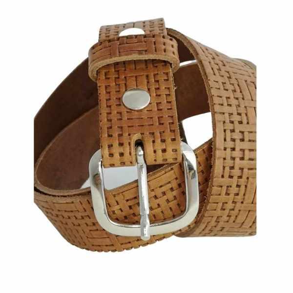 ceinture en cuir marron effet tressage et boucle interchangeable