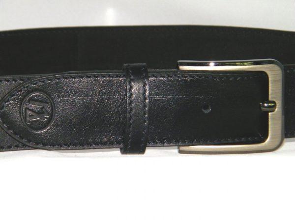 Ceinture en cuir noir 4 cm de largeur pour homme artisanale made in France