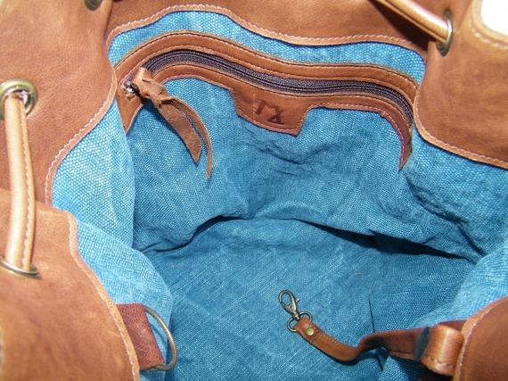 Sac bourse en cuir et toile bleu jean made in France
