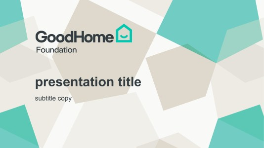 GoodHome Global Presentation PPT template cover slide