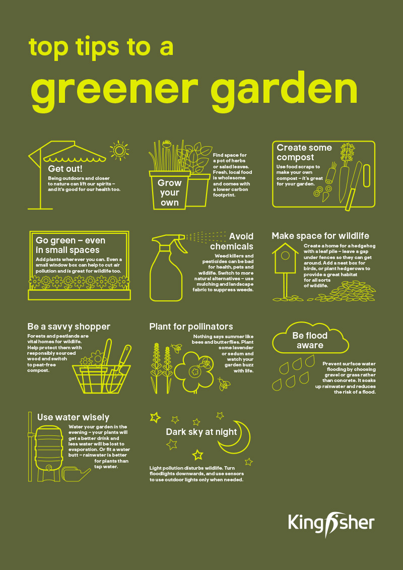 Kingfisher Sustainable Top Tips Garden A3 poster