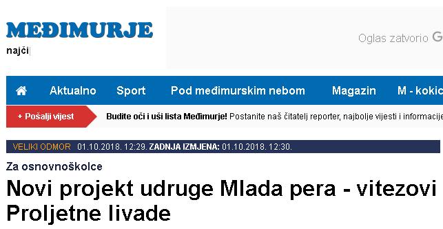 List Međimurje: Novi projekt udruge Mlada pera - vitezovi Proljetne livade