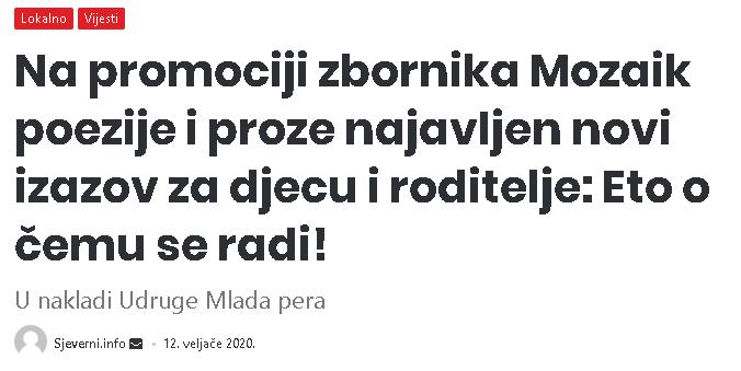 Sjeverni.info: Na promociji zbornika Mozaik poezije i proze najavljen novi izazov za djecu i roditelje: Eto o čemu se radi