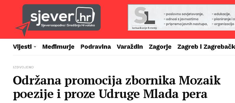 Sjever.hr: Održana promocija zbornika Mozaik poezije i proze Udruge Mlada pera
