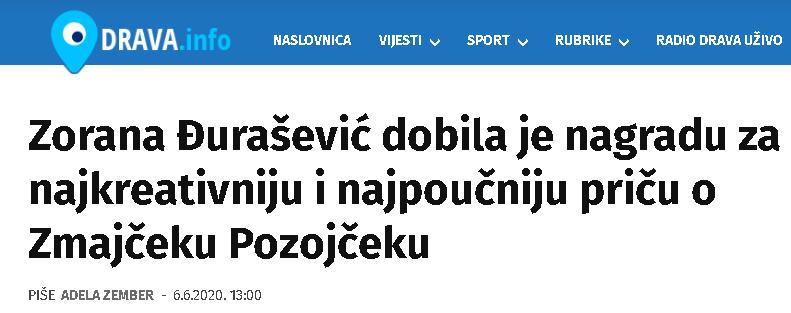 Drava.info: Zorana Đurašević dobila je nagradu za najkreativniju i najpoučniju priču o Zmajčeku Pozojčeku