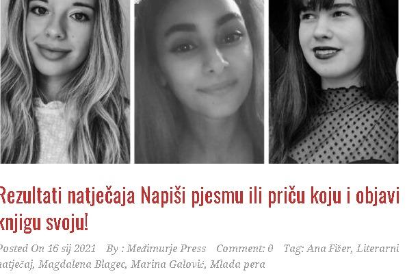 Međimurjepress: Rezultati natječaja Napiši pjesmu ili priču koju i objavi knjigu svoju!