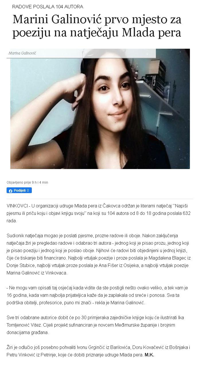Glas Slavonije: Marini Galinović prvo mjesto za poeziju na natječaju Mlada pera