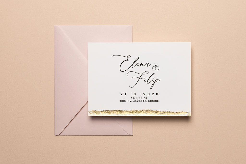svadobné oznámenie so zlátením a ružovou obálkou
