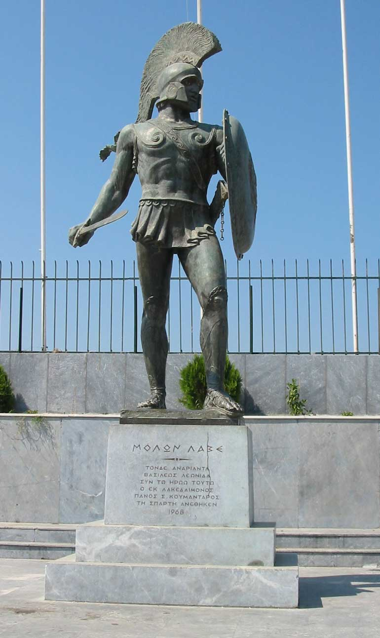 A monument to Leonidas I - Inscription, Molon Lave, which roughly translates to Come and get it!