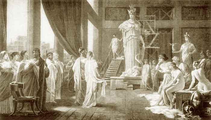 Pintura de Hector Leroux (1682-1740), donde aparecen Pericles y Aspasia visitando