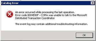 MSDTC event log error