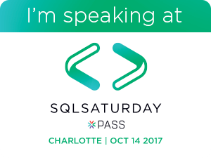 I'm speaking at SQL Saturday Charlotte