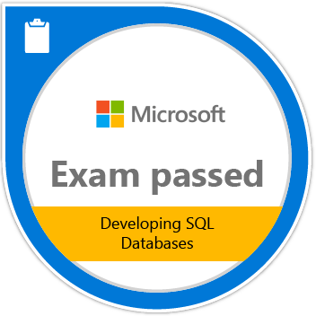 Microsoft Exam Passed 70-762: Developing SQL Databases