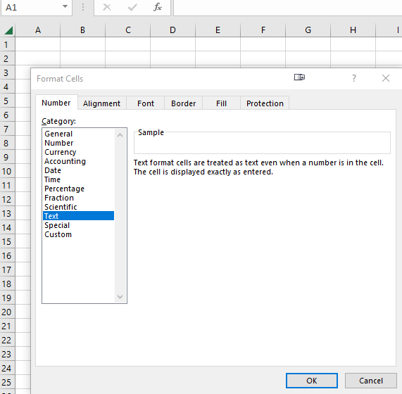 Excel sheet format as text