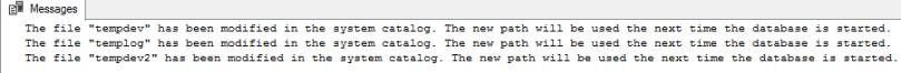 move tempdb files output