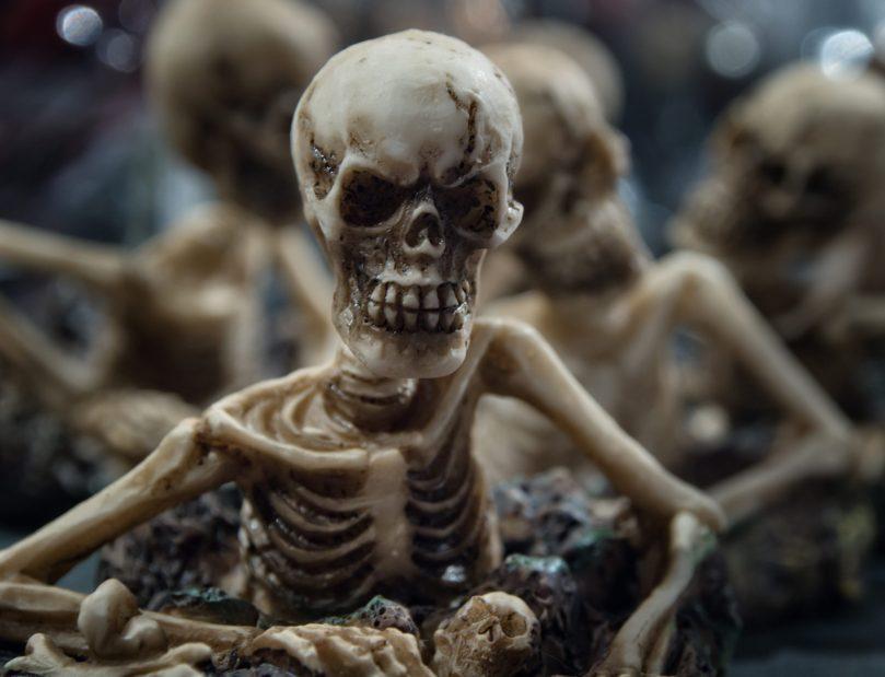 skeleton rises from grave