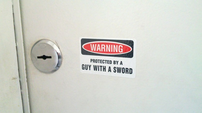 Proected by a man with a sword...