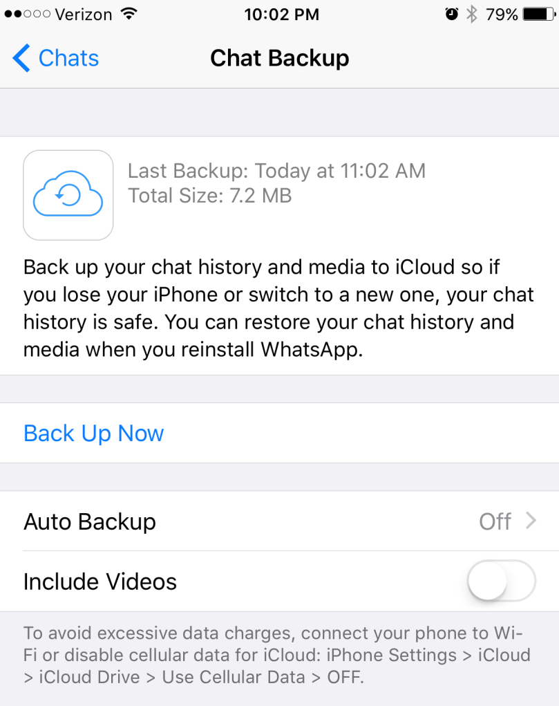 WhatsApp auto backups disabled