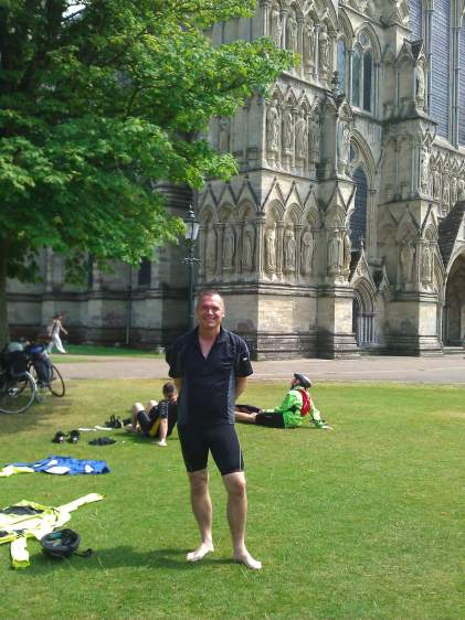 Mark outside Salisbury Cathedral.