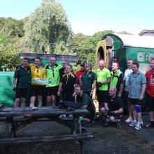 The team arrive at Torrington Station.