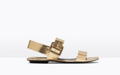 Sandale forme basic dorée ZARA