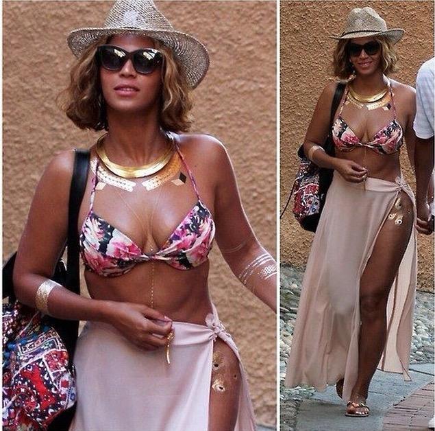 Beyonce tatouage éphémère métallisé